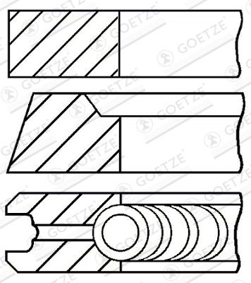 Jeu de segments de pistons GOETZE 08-111200-00 d'origine