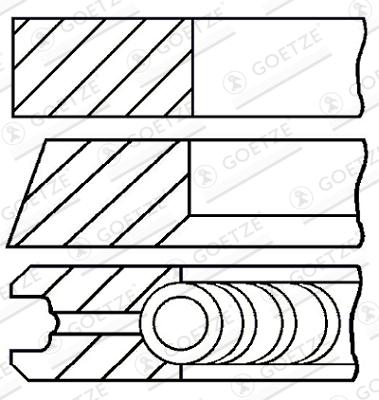 Jeu de segments de pistons GOETZE 08-114911-00 d'origine