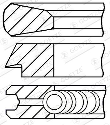 Jeu de segments de pistons GOETZE 08-119807-00 d'origine