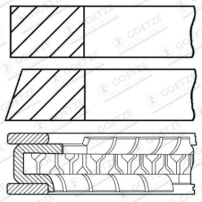Jeu de segments de pistons GOETZE 08-136700-00 d'origine