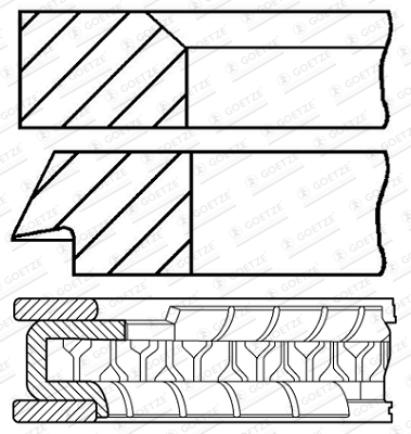 Jeu de segments de pistons GOETZE 08-147100-00 d'origine
