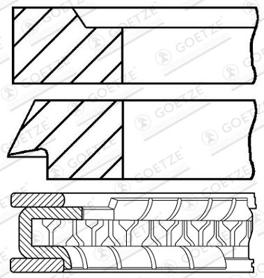 Jeu de segments de pistons GOETZE 08-205800-00 d'origine