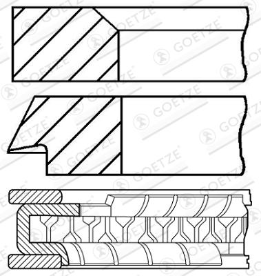 Jeu de segments de pistons GOETZE 08-214100-00 d'origine