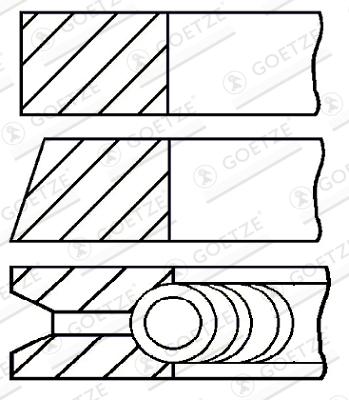 Jeu de segments de pistons GOETZE 08-247600-00 d'origine