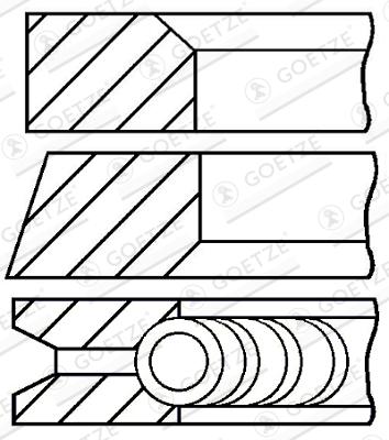 Jeu de segments de pistons GOETZE 08-336600-00 d'origine