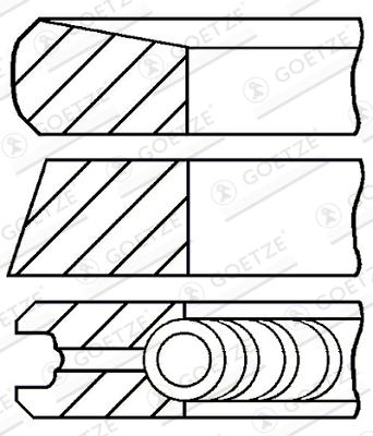 Jeu de segments de pistons GOETZE 08-373800-00 d'origine