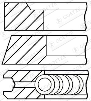 Jeu de segments de pistons GOETZE 08-421000-00 d'origine