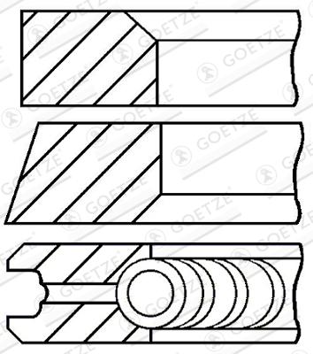 Jeu de segments de pistons GOETZE 08-422300-00 d'origine