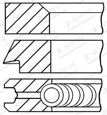 Jeu de segments de pistons GOETZE 08-427700-00 d'origine