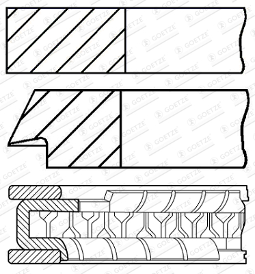 Jeu de segments de pistons GOETZE 08-429500-00 d'origine