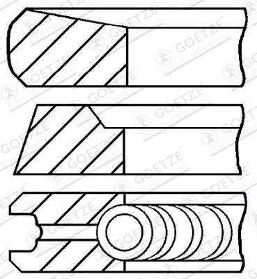 Jeu de segments de pistons GOETZE 08-436100-00 d'origine