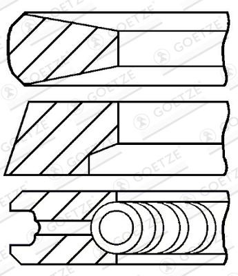 Jeu de segments de pistons GOETZE 08-520200-00 d'origine