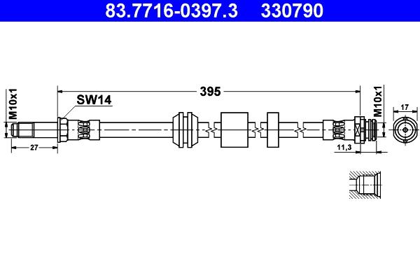 Flexible de frein ATE 330790 d'origine
