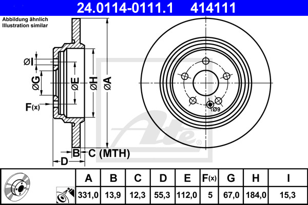 Jeu de 2 disques de frein ATE 414111 d'origine