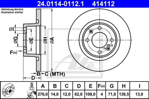 Jeu de 2 disques de frein ATE 414112 d'origine