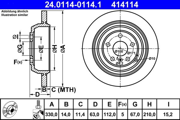 Jeu de 2 disques de frein ATE 414114 d'origine