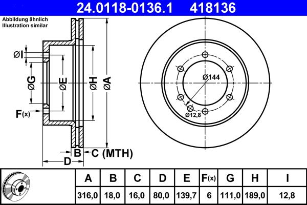 Jeu de 2 disques de frein ATE 418136 d'origine