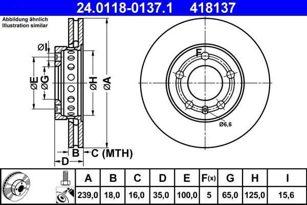 Jeu de 2 disques de frein ATE 418137 d'origine