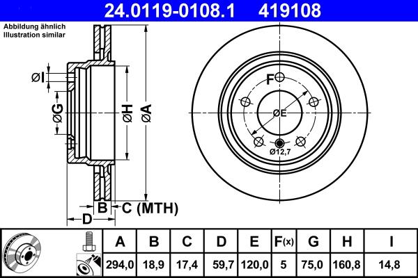 Jeu de 2 disques de frein ATE 419108 d'origine