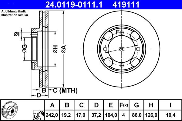 Jeu de 2 disques de frein ATE 419111 d'origine