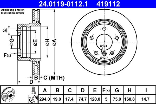 Jeu de 2 disques de frein ATE 419112 d'origine