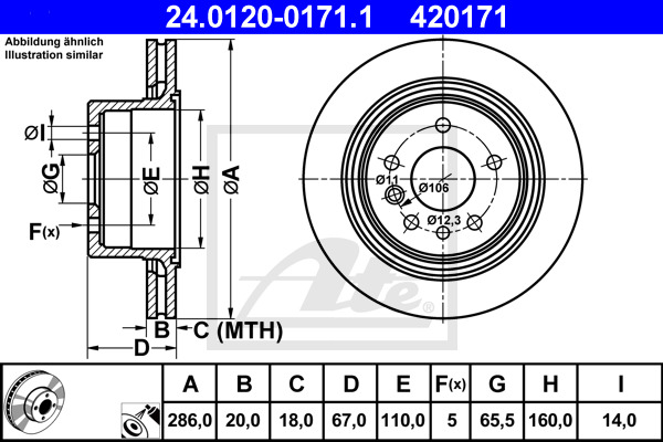Jeu de 2 disques de frein ATE 420171 d'origine