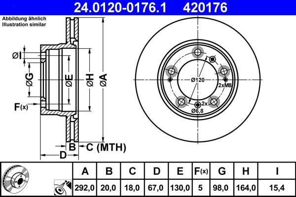 Jeu de 2 disques de frein ATE 420176 d'origine
