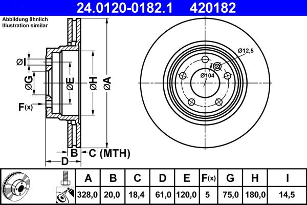 Jeu de 2 disques de frein ATE 420182 d'origine