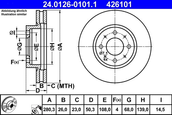 Jeu de 2 disques de frein ATE 426101 d'origine