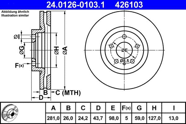 Jeu de 2 disques de frein ATE 426103 d'origine