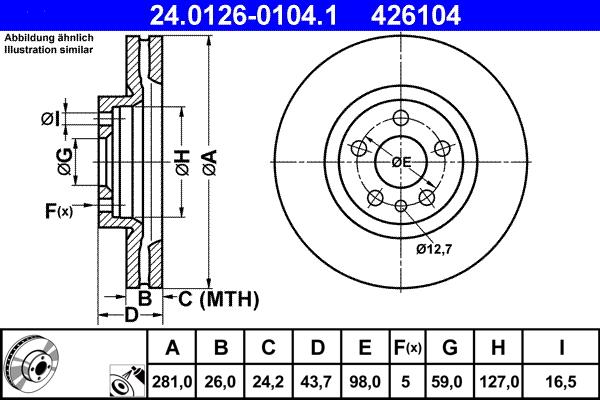 Jeu de 2 disques de frein ATE 426104 d'origine