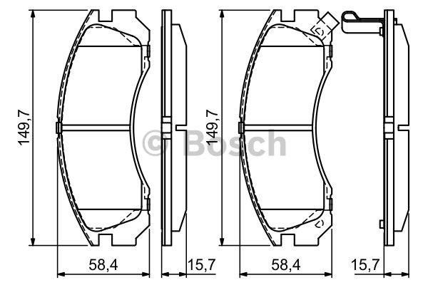 jeu de 4 plaquettes de frein a disque bosch 0986424523 dorigine bosch. Black Bedroom Furniture Sets. Home Design Ideas