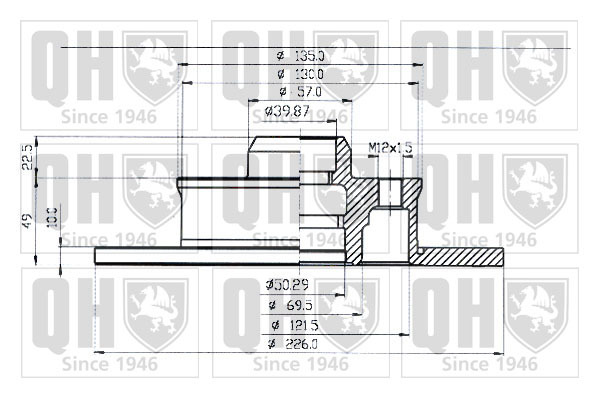 disque de frein unitaire quinton hazell bdc3712 dorigine quinton hazell. Black Bedroom Furniture Sets. Home Design Ideas